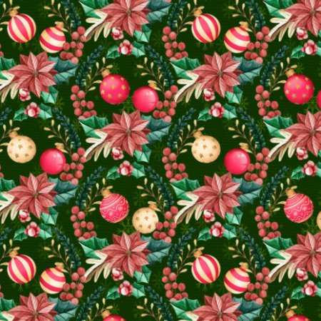 Tricoline Digital Enfeites de Natal Verde 100% Algodão, Unid. 50cm x 1,50mt