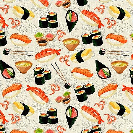 Tricoline Digital Sushi Fundo Claro 100% Algodão, Unid. 50cm x 1,50mt