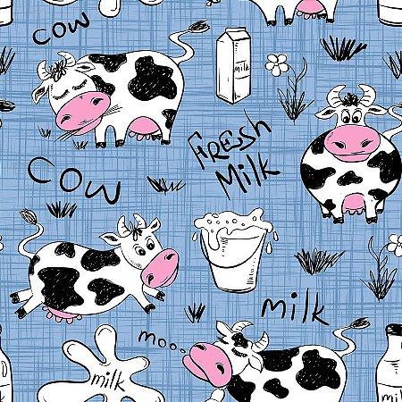Tricoline Digital Vaquinha Milk Azul 100% Algodão, Unid. 50cm x 1,50mt