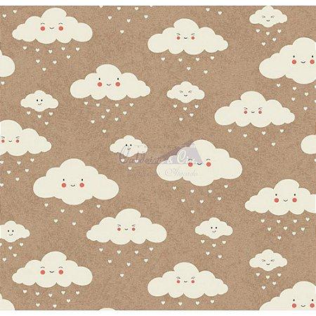 Tricoline Nuvem Cor - 01 (Bege Com Branco), 100% Algodão, Unid. 50cm x 1,50mt