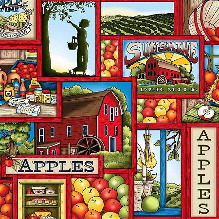 Tricoline Digital Apple Farm 100% Algodão, Unid. 50cm x 1,50mt