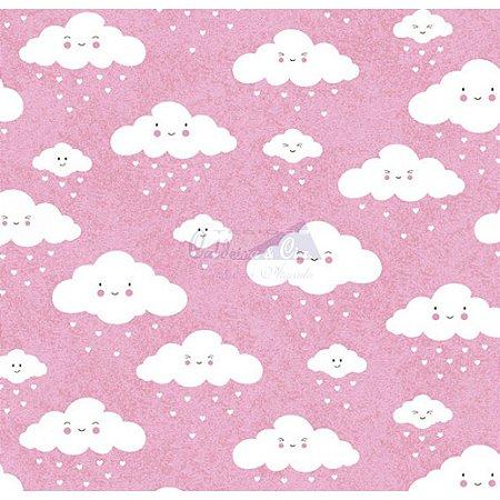 Tricoline Nuvem Cor - 02 (Rosa), 100% Algodão, Unid. 50cm x 1,50mt