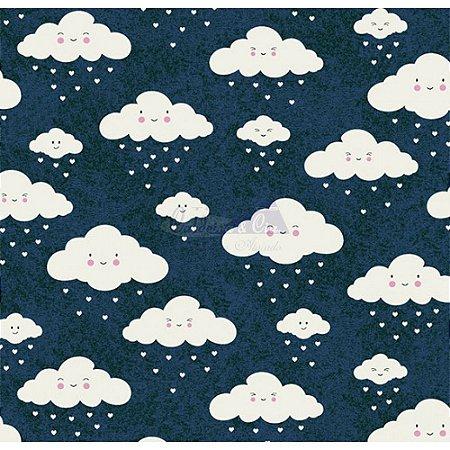 Tricoline Nuvem Cor - 05 (Marinho Com Branco), 100% Algodão, Unid. 50cm x 1,50mt