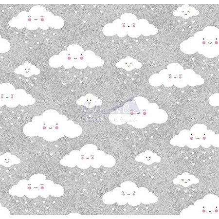 Tricoline Nuvem Cor - 06 (Cinza Com Branco), 100% Algodão, Unid. 50cm x 1,50mt