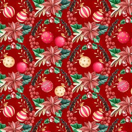 Tricoline Digital Enfeites de Natal Vermelho 100% Algodão, Unid. 50cm x 1,50mt