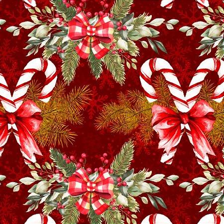 Tricoline Digital Laços de Natal Vermelho 100% Algodão, Unid. 50cm x 1,50mt