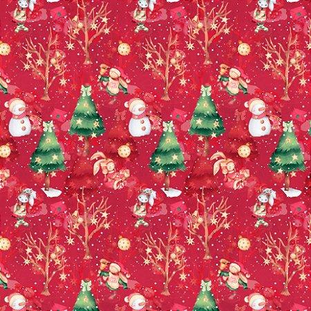 Tricoline Digital Árvores de Natal Vermelho 100% Algodão, Unid. 50cm x 1,50mt