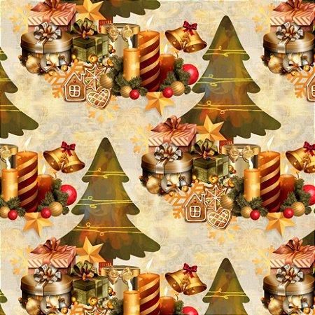 Tricoline Digital Natal Árvore com Presentes Cru 100% Algodão, Unid. 50cm x 1,50mt