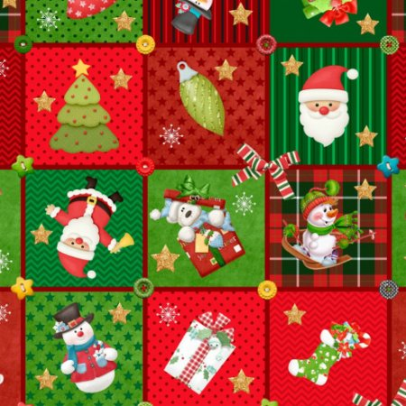 Tricoline Digital Natal Cards 100% Algodão, Unid. 50cm x 1,50mt