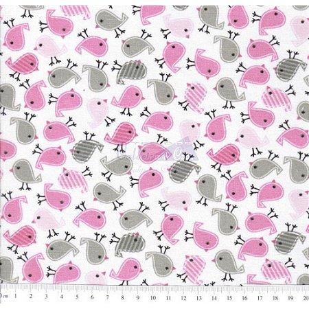 Tricoline Passarinhos Cor - 02 (Rosa Com Cinza), 100% Algodão, Unid. 50cm x 1,50mt