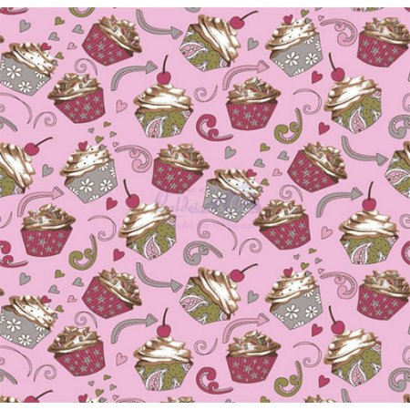 Tricoline Cupcake Cor - 02 (Rosa), 100% Algodão, Unid. 50cm x 1,50mt