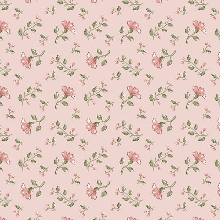 Tricoline Mini Floral Campestre Rosa, 100% Algodão, Unid. 50cm x 1,50mt