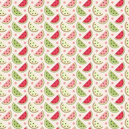Tricoline Fatias Melancias Multicolor, 100% Algodão, Unid. 50cm x 1,50mt