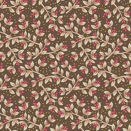 Tricoline Sementes Jacobean Marrom, 100% Algodão, Unid. 50cm x 1,50mt