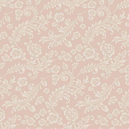 Tricoline Arabescos Rosê, 100% Algodão, Unid. 50cm x 1,50mt