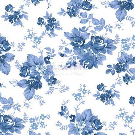 Tricoline Floral Iris Cor 18 (Azul) 100% Algodão, Unid. 50cm x 1,50mt