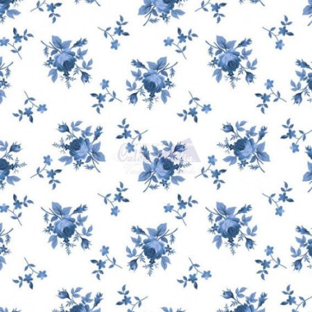 Tricoline Floral Angel Cor 08 (Azul) 100% Algodão, Unid. 50cm x 1,50mt