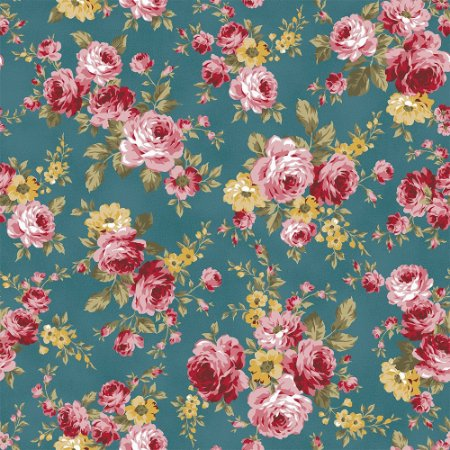 Tricoline Grand Floral Turmalina, 100% Algodão, Unid. 50cm x 1,50mt