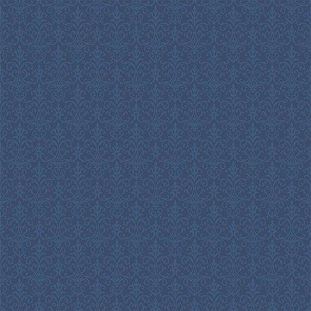 Tricoline Arabesque Azul Noite, 100% Algodão, Unid. 50cm x 1,50mt