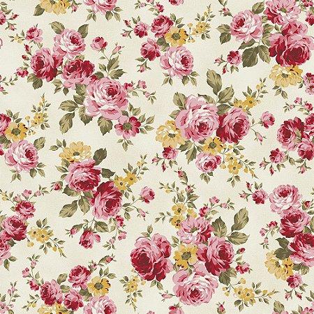 Tricoline Grand Floral Creme, 100% Algodão, Unid. 50cm x 1,50mt