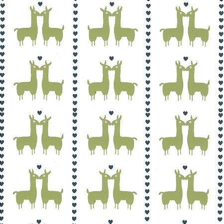 Tricoline Lhama Coração Verde, 100% Algodão, Unid. 50cm x 1,50mt