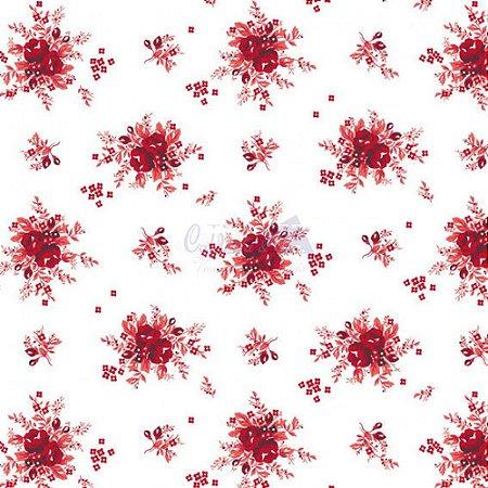 Tricoline Floral Yasmim Cor 09 (Vermelho) 100% Algodão, Unid. 50cm x 1,50mt