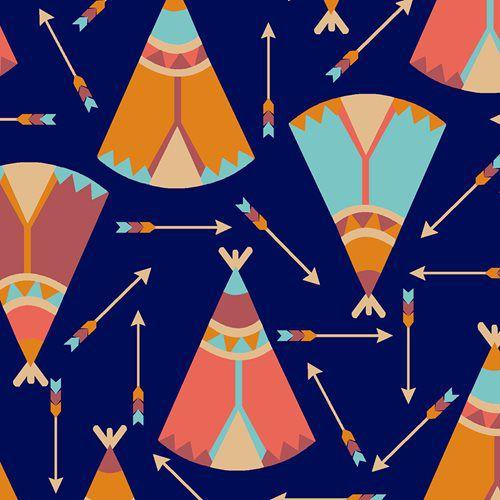 Tricoline Ocas e Flechas Índios - Azul, 100% Algodão, Unid. 50cm x 1,50mt