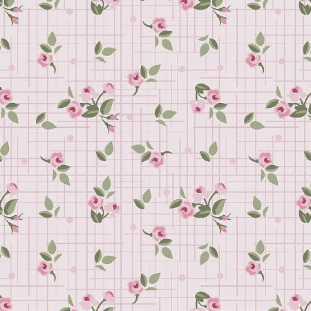 Tricoline Mini Floral Pássaros Rosa, 100% Algodão, Unid. 50cm x 1,50mt