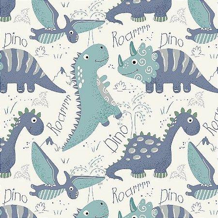 Tricoline Dinos Ocean, 100% Algodão, Unid. 50cm x 1,50mt