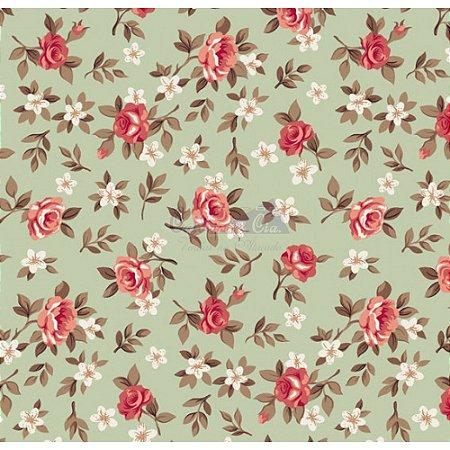 Tricoline Estampado Floral Lúcia Cor - 06 (Verde Com Coral), 100% Algodão, Unid. 50cm x 1,50mt