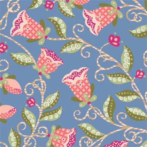 Tricoline Floral Arabesque Fundo Azul - 100% Algodão, Unid. 50cm x 1,50mt