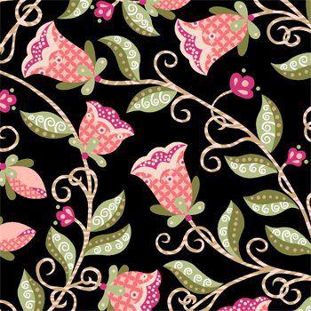 Tricoline Floral Arabesque Fundo Preto - 100% Algodão, Unid. 50cm x 1,50mt