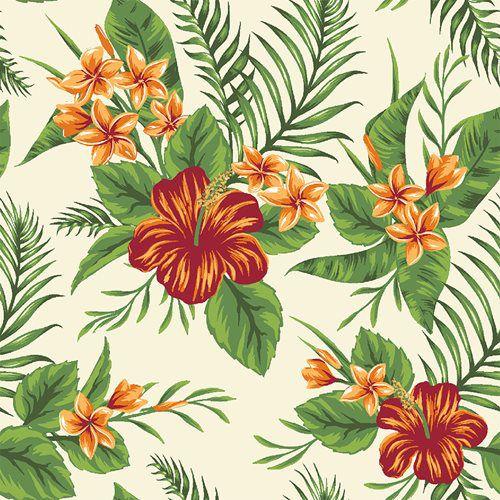 Tricoline Floral Paraíso Fundo Claro , 100% Algodão, Unid. 50cm x 1,50mt