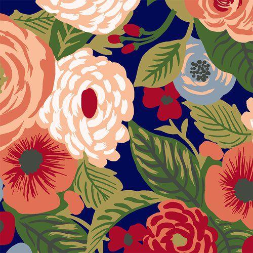 Tricoline Floral Grande Botânica Fundo Azul, 100% Algodão, Unid. 50cm x 1,50mt