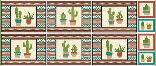 Tricoline Painel Cactus, 100% Algodão, Unid. 60cm x 1,50mt