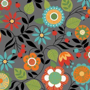 Tricoline Floral Bohêmia Fundo Cinza, 100% Algodão, Unid. 50cm x 1,50mt