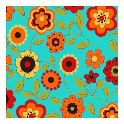 Tricoline Floral Alegria Fundo Verde, 100% Algodão, Unid. 50cm x 1,50mt