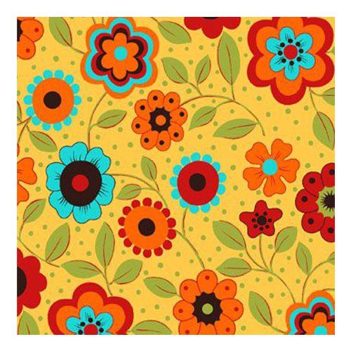 Tricoline Floral Alegria Fundo Amarelo, 100% Algodão, Unid. 50cm x 1,50mt