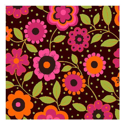 Tricoline Floral Alegria Fundo Marrom, 100% Algodão, Unid. 50cm x 1,50mt