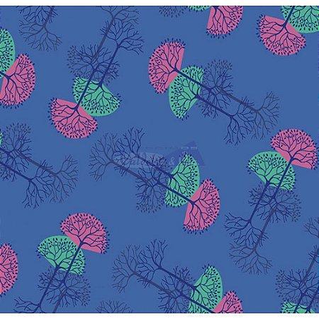 Tecido Arvore Da Vida Cor 02 (Azul), 100% Algodão, Unid. 50cm x 1,50mt