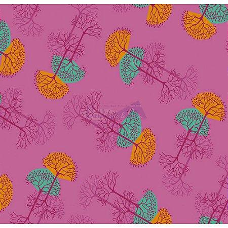 Tecido Arvore Da Vida Cor 03 (Rosa), 100% Algodão, Unid. 50cm x 1,50mt