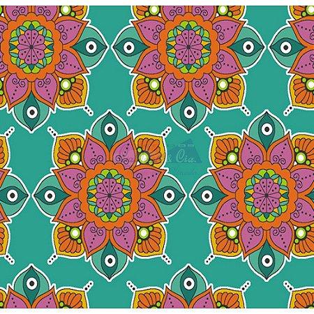 Tecido Mandala Cor 01 (Tiffany), 100% Algodão, Unid. 50cm x 1,50mt