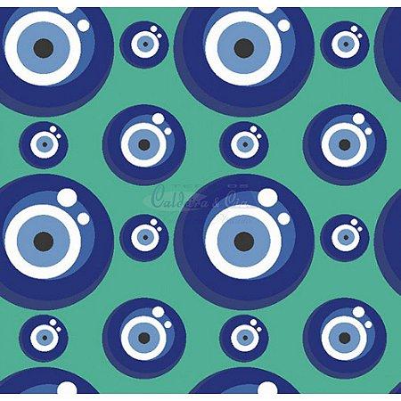 Tecido Olho Grego Cor 01 (Tiffany), 100% Algodão, Unid. 50cm x 1,50mt