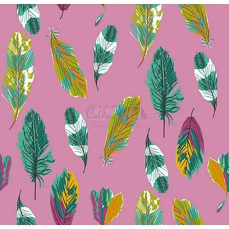 Tecido Penas Cor 03 (Rosa), 100% Algodão, Unid. 50cm x 1,50mt