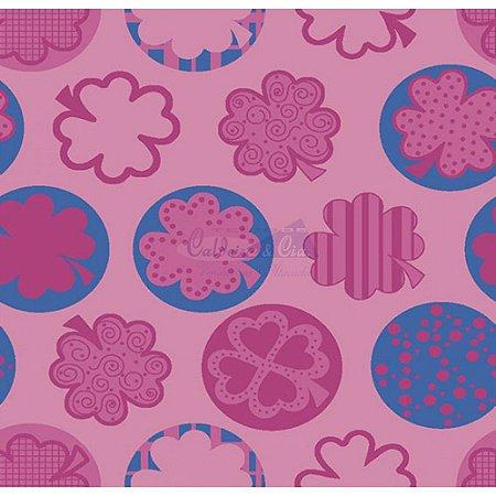 Tecido Trevo Cor 03 (Rosa), 100% Algodão, Unid. 50cm x 1,50mt