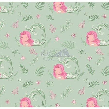Tecido Sereia Cor 06 (Verde Com Rosa), 100% Algodão, Unid. 50cm x 1,50mt