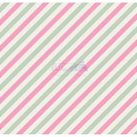 Tecido Diagonal Cor 06 (Verde Com Rosa), 100% Algodão, Unid. 50cm x 1,50mt