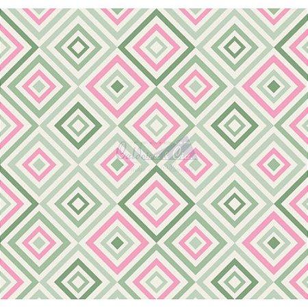 Tecido Geométrico Cor 06 (Verde Com Rosa), 100% Algodão, Unid. 50cm x 1,50mt