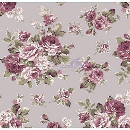 Tecido Floral Amore Cor - 04 (Cinza Vintage), 100% Algodão, Unid. 50cm x 1,50mt
