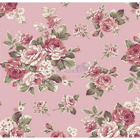 Tecido Floral Amore Cor - 05 (Salmão), 100% Algodão, Unid. 50cm x 1,50mt